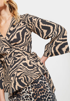 Printed Crepe Wrap Top Tannin