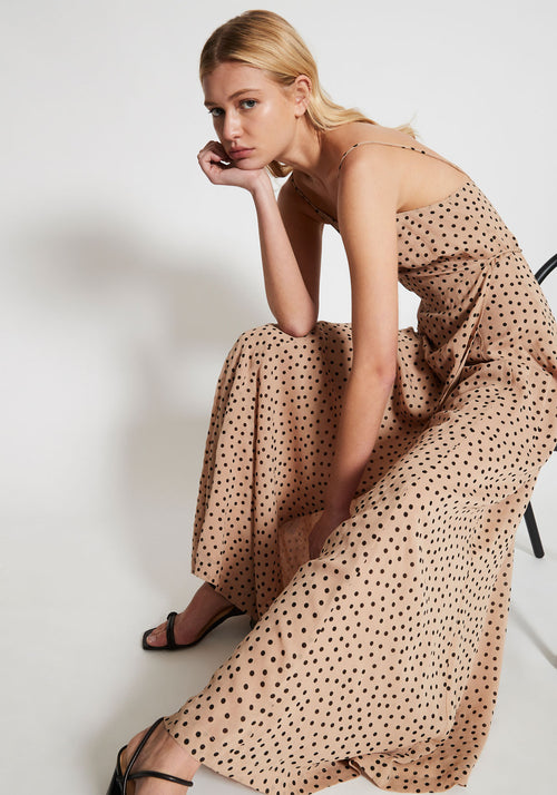Printed Georgette Maxi Dress Tannin