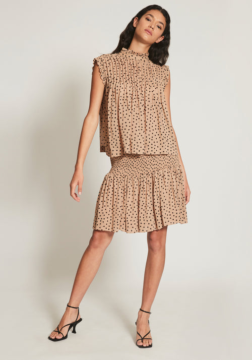 Printed Georgette Mini Skirt Tannin