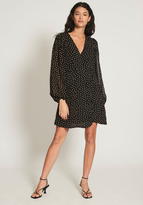 Printed Georgette Mini Wrap Dress Black