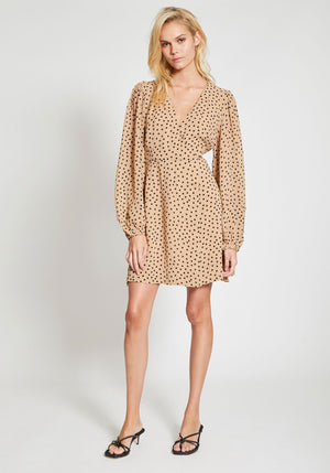 Printed Georgette Mini Wrap Dress Tannin