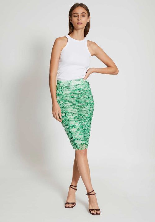 Printed Mesh Skirt Island Green