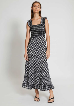 Seersucker Check Midi Dress Black