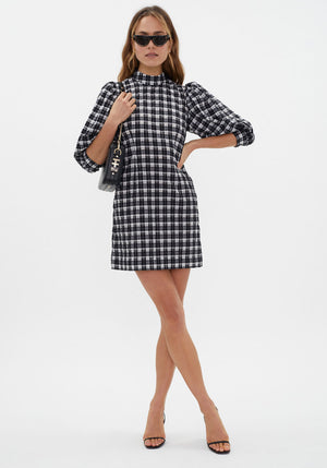 Seersucker Check Mini Dress Black