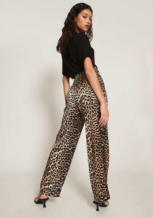 Silk Stretch Satin Pants Leopard