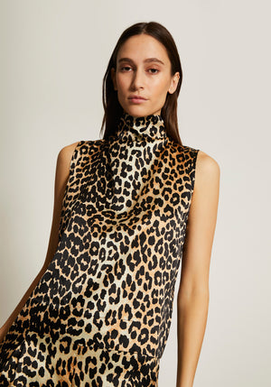 Silk Stretch Satin Top Leopard