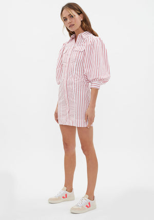 Stripe Cotton Mini Dress Lollipop