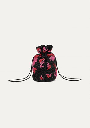 Hand Beaded Drawstring Bag Black