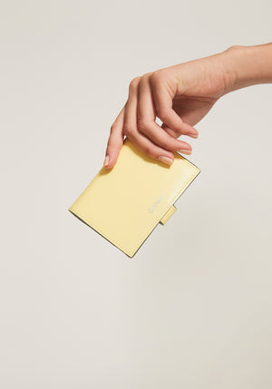 Textured Leather Mini Wallet Lemon