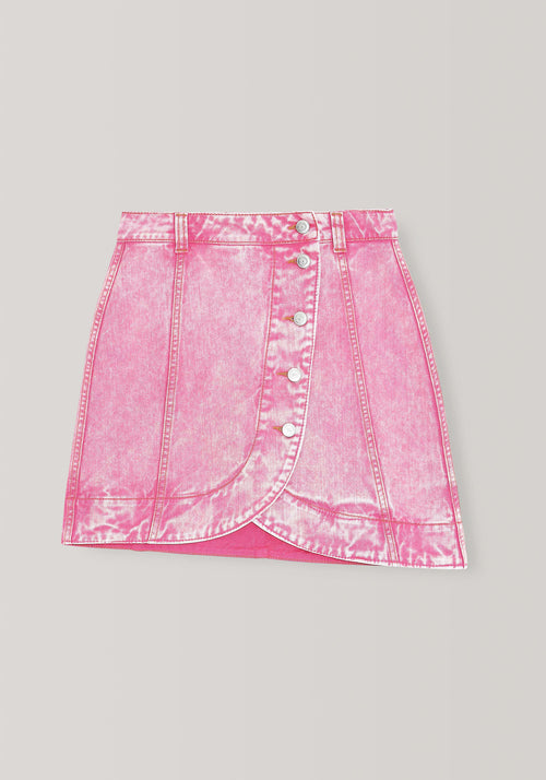 Washed Denim Mini Skirt Fuchsia