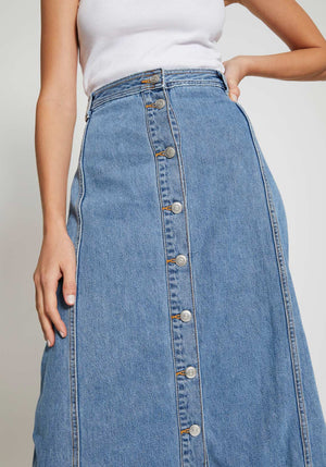 Washed Denim Skirt Washed Indigo