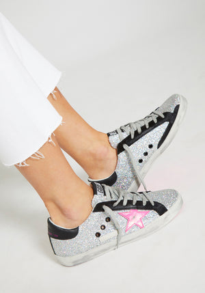 Superstar Sneakers Silver Glitter