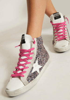 Francy Sneakers Pink/Grey Glitter/White Star
