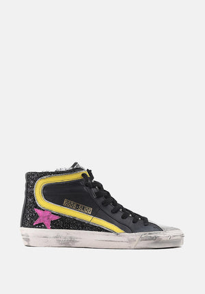 Slide Sneakers Black Glitter Yellow/Purple