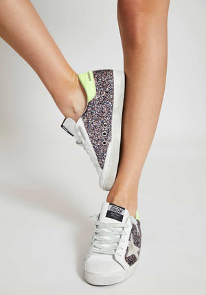 Superstar Sneakers Pink/Grey Glitter Ice Suede