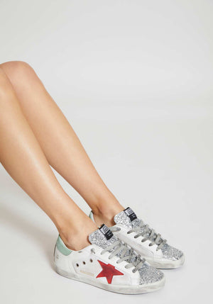Superstar Sneakers White Leather/Canvas Glitter