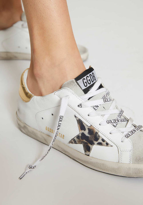 Superstar Sneakers White Leather/Spotted Star Logo Lace