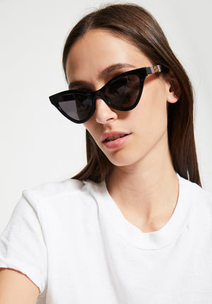 Cateye Acetate Sunglasses Black/Metal