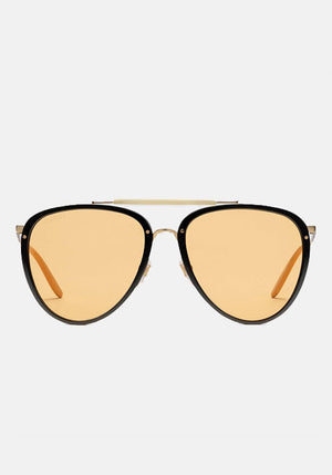 Aviator Acetate & Metal Sunglasses Black/Yellow