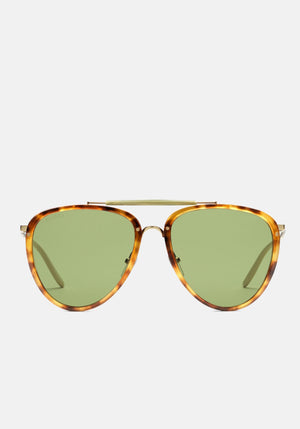Aviator Acetate & Metal Sunglasses Havana/Green