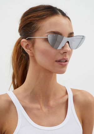 Cat-Eye Mask Sunglasses Silver