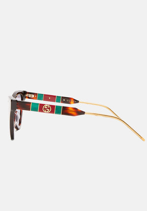 Cat Eye Acetate Sunglasses Havana/Metal