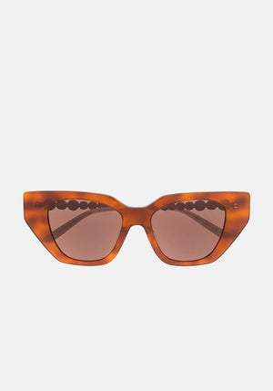 Crystal Embellished Sunglasses Havana