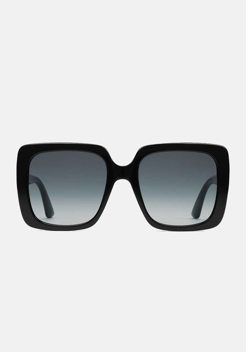 Crystal Logo Square Sunglasses Black