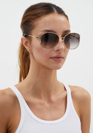 Round Metal Sunglasses Gold/Grey