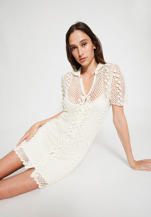 Angelo Crochet Dress Ivory