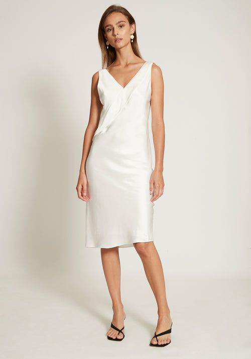 Short Double Satin Sash Dress Ivory