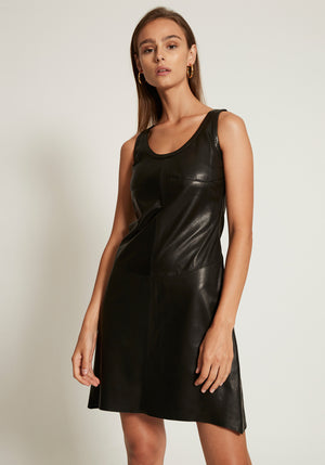 Stain-Proof Leather Tank Dress Onyx