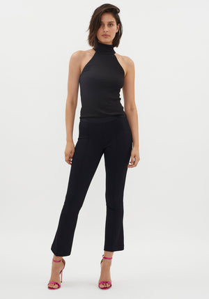 Cropped Flare Rib Legging Black