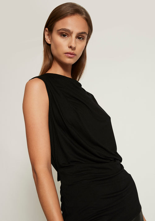 Open Back Sleeveless Jersey Top Onyx