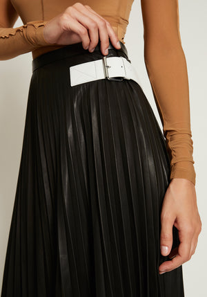 Pleated Leather Skirt Onyx
