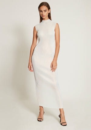Pleated Pearl Lurex Dress Pearl