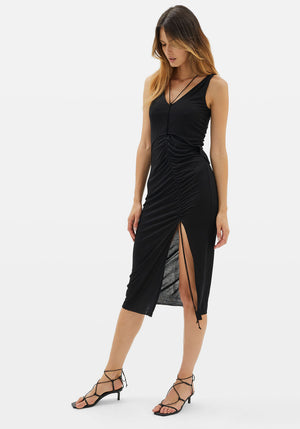 Scala Ruched Dress Black