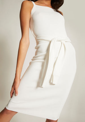 Tie Waist Dress White