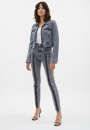 Zippered Femme Hi Spikes Jeans Concrete Stone