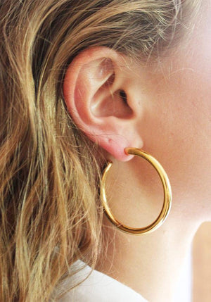 Large Tube Hoop Earrings Gold