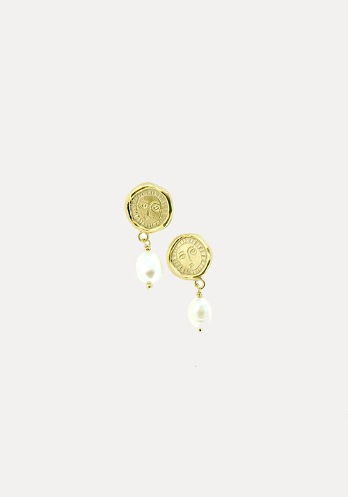 Mini Picasso & Pearl Drop Earrings Gold