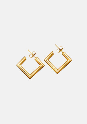 Mini Square Tube Hoop Earrings Gold