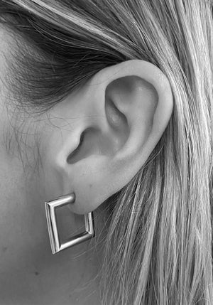 Mini Square Tube Hoop Earrings Silver