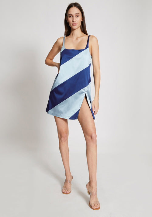 Muted Panelled Slit Dress Blue/Navy