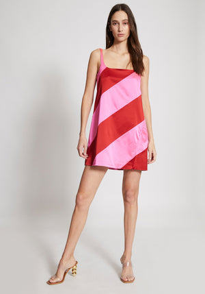 Muted Panelled Slit Dress Pink/Red