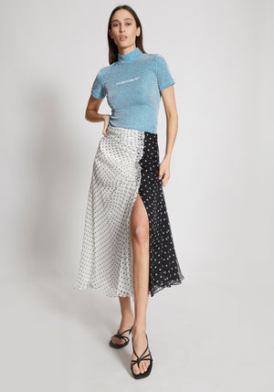 Polka Gathered Midi Skirt Black/White