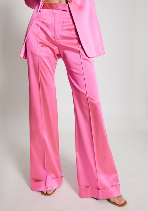 Satin Flared Tailored Trousers Pink