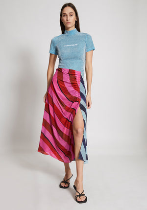 Stripe Gathered Midi Skirt Pink/Multi