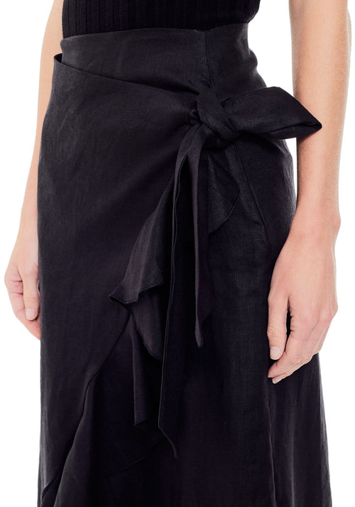 Abbie Long Linen Ruffle Skirt