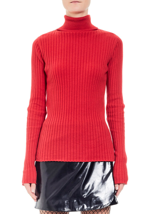High Neck Rib Sweater